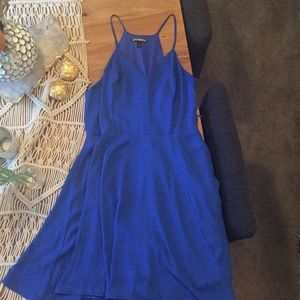 Express chiffon cobalt blue fit and flare dress